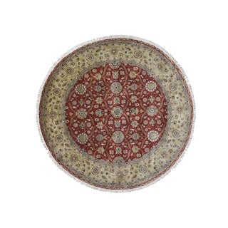 "Shahbanu Rugs Hereke Design Wool and Silk Hand-Knotted 300 Kpsi Round Oriental Rug (8'1"" x 8'3"") - 8'1"" x 8'3"""