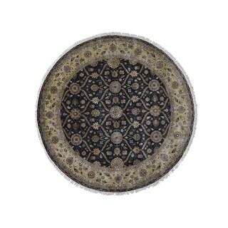 "Shahbanu Rugs Hereke Design Wool and Silk Hand-Knotted 300 Kpsi Round Oriental Rug (9'0"" x 9'0"") - 9'0"" x 9'0"""