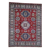 """Shahbanu Rugs Pure Wool Hand-Knotted Special Kazak Oriental Rug (9'0"""" x 11'10"""") - 9'0"""" x 11'10"""""""