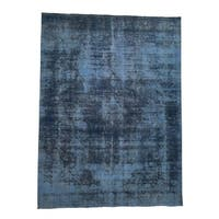 """Shahbanu Rugs Overdyed Tabriz Hand-Knotted Oriental Pure Wool Rug (9'9"""" x 12'10"""") - 9'9"""" x 12'10"""""""