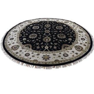 "Shahbanu Rugs Half Wool and Half Silk Round Rajasthan Hand-Knotted Oriental Rug (9'0"" x 9'0"") - 9'0"" x 9'0"""
