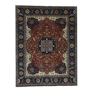"""Shahbanu Rugs Antiqued Heriz Re-creation Hand-Knotted Pure Wool Rug (10'0"""" x 13'10"""") - 10'0"""" x 13'10"""""""