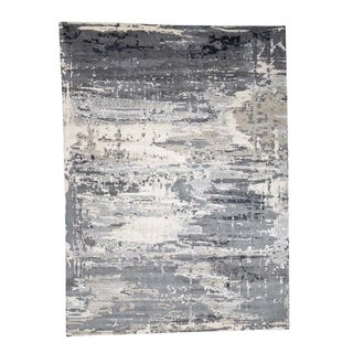 "Shahbanu Rugs Hi-Low Pile Abstract Design Wool And Silk Hand-Knotted Oriental Rug (10'0"" x 13'10"") - 10'0"" x 13'10"""