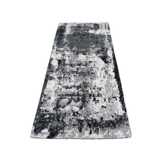 "Shahbanu Rugs Hi-Low Pile Abstract Design Wool And Silk Hand-Knotted Rug  (2'7"" x 6'2"") - 2'7"" x 6'2"""
