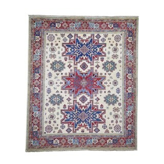 "Shahbanu Rugs Special Kazak Pure Wool Hand-Knotted Geometric Design Oriental Rug (8'2"" x 9'10"") - 8'2"" x 9'10"""