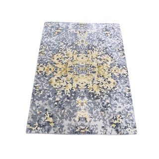 "Shahbanu Rugs Abstract Design Wool And Silk Hand-Knotted Modern Rug (2'0"" x 3'0"") - 2'0"" x 3'0"""