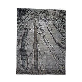 Shahbanu Rugs Hi-Low Pile Abstract Design Wool And Silk Handmade Oriental Rug - 5'2 x 6'10
