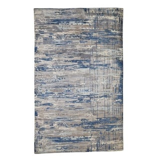 "Shahbanu Rugs Pure Wool Abstract Design Hand-Knotted Oriental Rug (6'0"" x 9'6"") - 6'0"" x 9'6"""