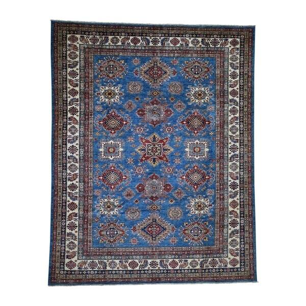 "Shahbanu Rugs Super Kazak Pure Wool Geometric Design Hand-Knotted Oriental Rug (8'2"" x 10'1"") - 8'2"" x 10'1"""