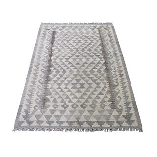 "Shahbanu Rugs Undyed Natural Wool Afghan Kilim Reversible Hand Woven Oriental Rug (3'4"" x 5'0"") - 3'4"" x 5'0"""