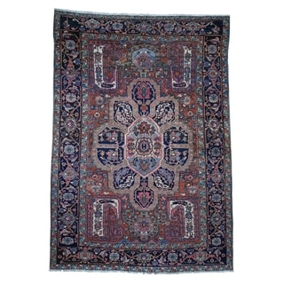 "Shahbanu Rugs Antique Persian Heriz Good Condition Flower Design Hand-Knotted Rug (7'9"" x 11'0"") - 7'9"" x 11'0"""