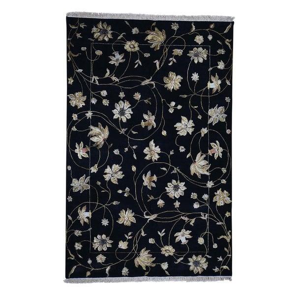 "Shahbanu Rugs Hand-Knotted Half Wool & Half Silk Rajasthan Oriental Rug (6'1"" x 9'3"") - 6'1"" x 9'3"""