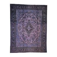 """Shahbanu Rugs Overdyed Bibikabad Hand-Knotted Pure Wool Oriental Rug (8'7"""" x 11'0"""") - 8'7"""" x 11'0"""""""