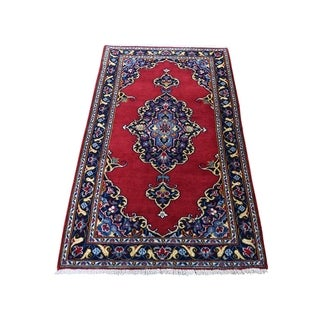 """Shahbanu Rugs New Persian Kashan Exc Condition Hand-Knotted Pure Wool Rug (2'4"""" x 4'7"""") - 2'4"""" x 4'7"""""""
