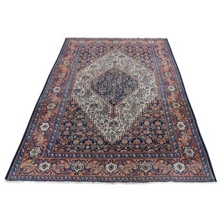 """Shahbanu Rugs Antique Persian Senneh Exc Cond Pure Wool Hand-Knotted Oriental Rug (4'4"""" x 6'6"""") - 4'4"""" x 6'6"""""""