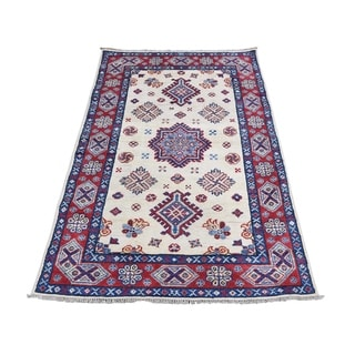 "Shahbanu Rugs Special Kazak Pure Wool Hand-Knotted Geometric Design Oriental Rug (3'0"" x 4'10"") - 3'0"" x 4'10"""