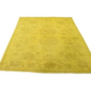 "Shahbanu Rugs Hand-Knotted Overdyed Peshawar Yellow Pure Wool Oriental Rug (4'9"" x 6'3"") - 4'9"" x 6'3"""