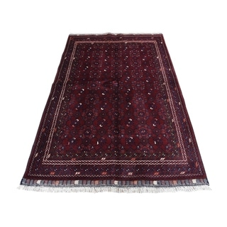 "Shahbanu Rugs Hand-Knotted Pure Wool Red Afghan Qunduz Oriental Rug (3'9"" x 6'0"") - 3'9"" x 6'0"""