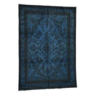 "Shahbanu Rugs Overdyed Persian Hamadan Worn Pile Hand-Knotted Pure Wool Oriental Rug (8'2"" x 11'4"") - 8'2"" x 11'4"""