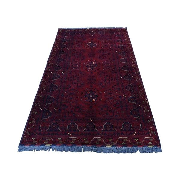 "Shahbanu Rugs Hand-Knotted Pure Wool Red Afghan Qunduz Oriental Rug (3'4"" x 6'4"") - 3'4"" x 6'4"""