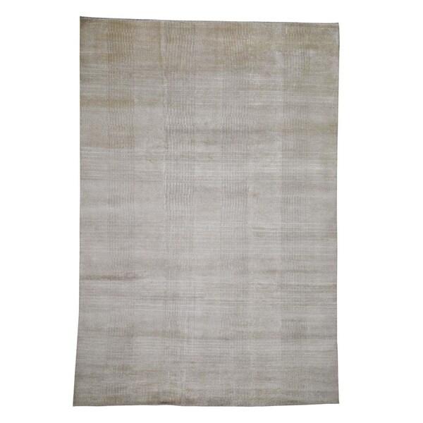 "Shahbanu Rugs Wool and Silk Tone-on-Tone Nepali Hand-Knotted Oriental Rug (8'1"" x 11'7"") - 8'1"" x 11'7"""