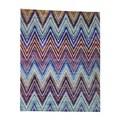 Shahbanu Rugs Handmade Chevron Design Sari Silk with Oxidized Wool Oriental Rug - 8' x 10'
