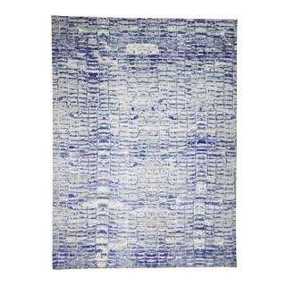 "Shahbanu Rugs Diminishing Bricks Sari Silk Hand-Knotted Oriental Rug (9'0"" x 12'2"") - 9'0"" x 12'2"""