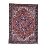 """Shahbanu Rugs Hand-Knotted Antique Persian Heriz Pure Wool Oversize Rug (11'5"""" x 15'4"""") - 11'5"""" x 15'4"""""""