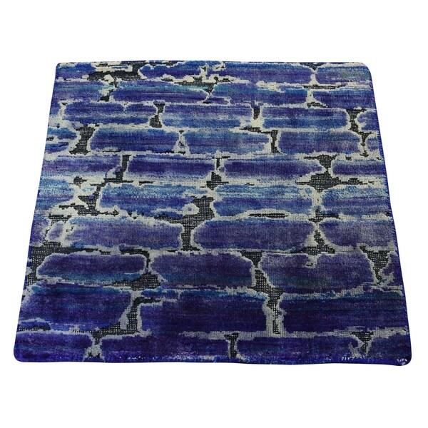 "Shahbanu Rugs DIMINISHING BRICKS Sari Silk with Oxidized Wool Hand-Knotted Oriental (2'0"" x 2'0"") - 2'0"" x 2'0"""