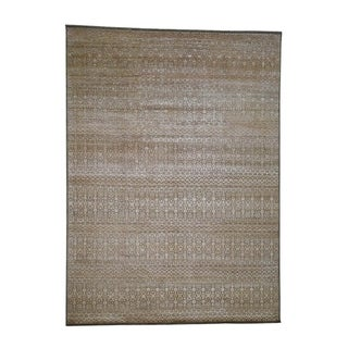 "Shahbanu Rugs Gabbeh Design Art Silk With Oxidized Wool Hand-Knotted Oriental Rug (9'0"" x 12'2"") - 9'0"" x 12'2"""