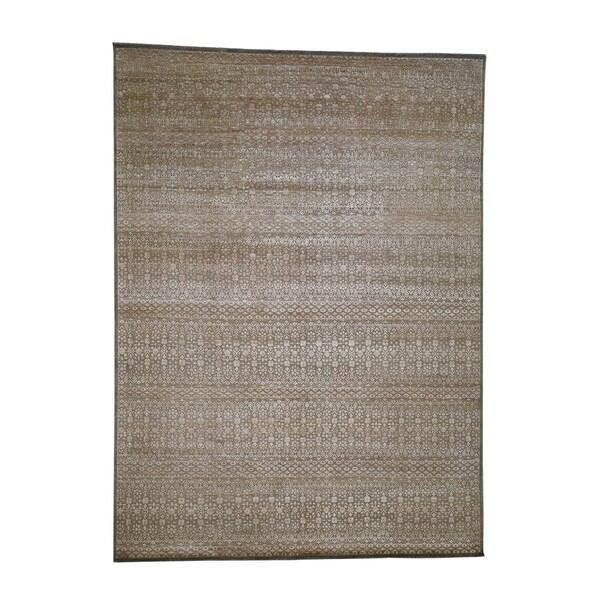 "Shahbanu Rugs Gabbeh Design Art Silk With Oxidized Wool Hand-Knotted Oriental Rug (9'0"" x 12'2"") - 9'0"" x 12'2"""