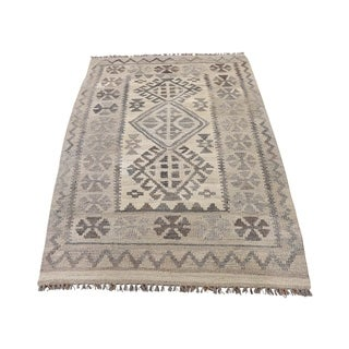 "Shahbanu Rugs Undyed Natural Wool Afghan Kilim Reversible Hand Woven Oriental Rug (2'10"" x 4'4"") - 2'10"" x 4'4"""