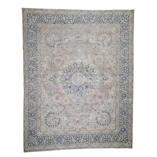 """Shahbanu Rugs Hand-Knotted White Wash Vintage Kerman Sheared Low Oriental Rug (10'2"""" x 12'9"""") - 10'2"""" x 12'9"""""""