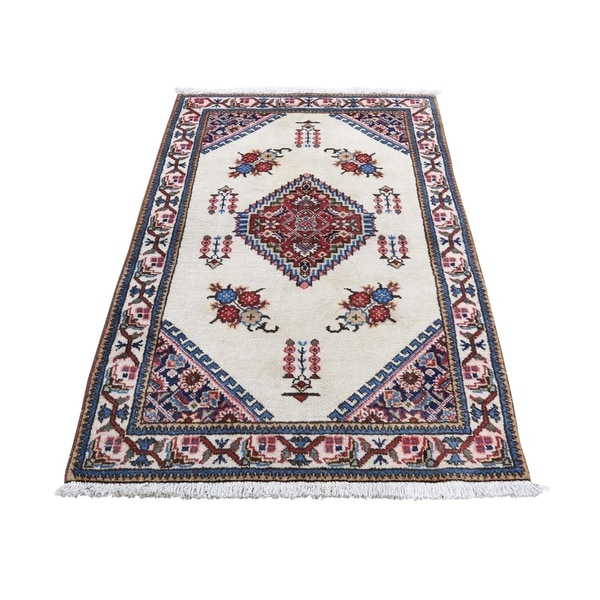 """Shahbanu Rugs Vintage Persian Tabriz Pure Wool Exc Condition Hand-Knotted Rug (2'7"""" x 4'4"""") - 2'7"""" x 4'4"""""""