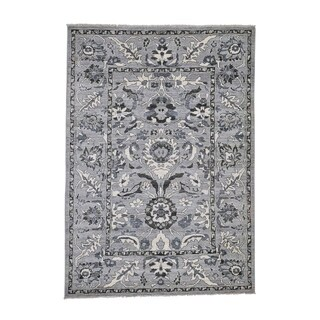 """Shahbanu Rugs Undyed Natural Wool Mahal Design Hand-Knotted Oriental Rug (5'5"""" x 7'7"""") - 5'5"""" x 7'7"""""""