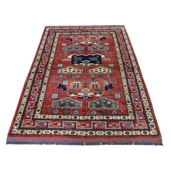 "Shahbanu Rugs Afghan Ersari Pure Wool Hand-Knotted Oriental Rug (4'0"" x 5'7"") - 4'0"" x 5'7"""