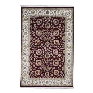 "Shahbanu Rugs Hand-Knotted Half Wool & Half Silk Rajasthan Oriental Rug (6'0"" x 9'0"") - 6'0"" x 9'0"""