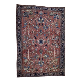 """Shahbanu Rugs Hand Knotted Antique Persian Serapi Exc Cond Pure Wool Oriental Rug (10'0"""" x 14'6"""") - 10'0"""" x 14'6"""""""