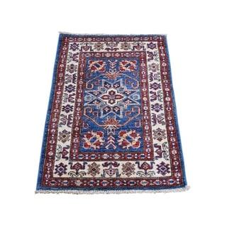 "Shahbanu Rugs Super Kazak Pure Wool Geometric Design Hand-Knotted Oriental Rug (2'1"" x 3'1"") - 2'1"" x 3'1"""