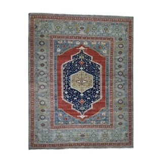 "Shahbanu Rugs Hand-Knotted Antiqued Bakshaish Re-creation Pure Wool Oriental Rug (11'9"" x 14'10"") - 11'9"" x 14'10"""
