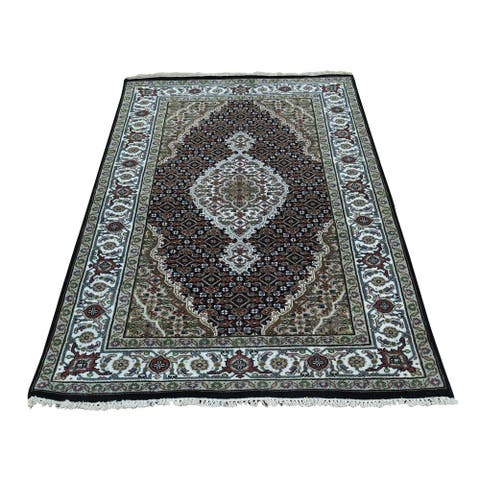 "Shahbanu Rugs Wool And Silk Tabriz Mahi Design Hand-Knotted Oriental Rug (3'0"" x 5'0"") - 3'0"" x 5'0"""