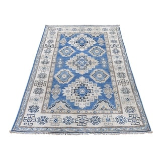 "Shahbanu Rugs Hand-Knotted Pure Wool Vintage Look Kazak Oriental Rug (3'1"" x 5'2"") - 3'1"" x 5'2"""