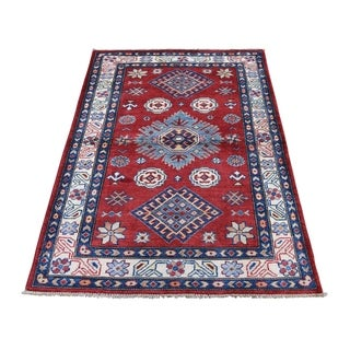"Shahbanu Rugs Special Kazak Pure Wool Hand-Knotted Geometric Design Oriental Rug (3'0"" x 4'9"") - 3'0"" x 4'9"""