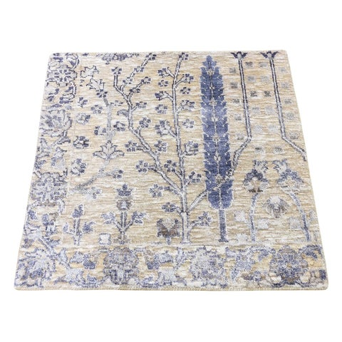 "Shahbanu Rugs Willow And Cypress Tree Design Wool & Silk Square Hand-Knotted Rug (2'1"" x 2'1"") - 2'1"" x 2'1"""