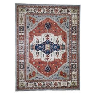 Shahbanu Rugs Handmade Peshawar with Serapi Design Pure Wool Oriental Rug - 9'1 x 12'
