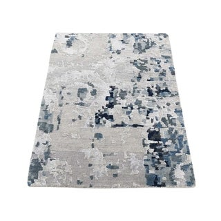 "Shahbanu Rugs Hi-Low Pile Abstract Design Wool And Silk Hand-Knotted Oriental Rug (2'0"" x 2'9"") - 2'0"" x 2'9"""