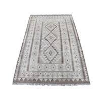 "Shahbanu Rugs Undyed Natural Wool Afghan Kilim Reversible Hand Woven Oriental Rug (3'3"" x 5'2"") - 3'3"" x 5'2"""