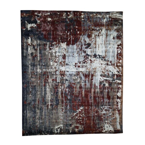"""Shahbanu Rugs Hand-Knotted Wool And Silk Abstract Design Oriental Rug (8'0"""" x 10'0"""") - 8'0"""" x 10'0"""""""
