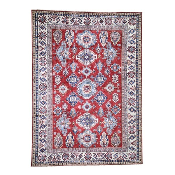 "Shahbanu Rugs Super Kazak Pure Wool Geometric Design Hand-Knotted Oriental Rug (8'7"" x 12'0"") - 8'7"" x 12'0"""