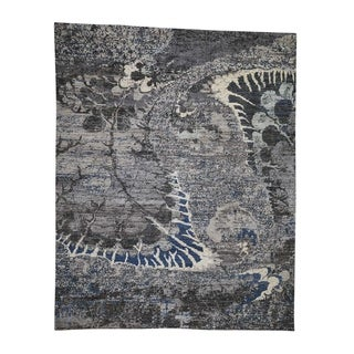 "Shahbanu Rugs Pure Wool Abstract Design Hand-Knotted Oriental Rug (8'1"" x 10'1"") - 8'1"" x 10'1"""
